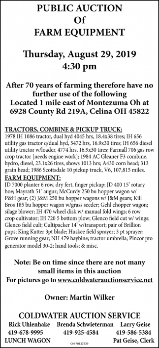 Public Auction of Farm Equipment