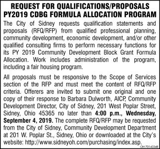 Request for Qualifications / Proposals PY2019 CDBG formula Allocation Program