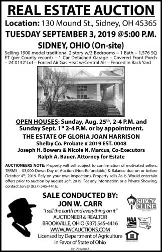 Real Estate Auction -  September 3