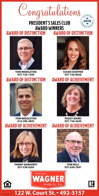 Congratulations President's Sales Club Award Winners