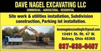 Site work, utilities installation, Subdivision construction, Parking lot installation