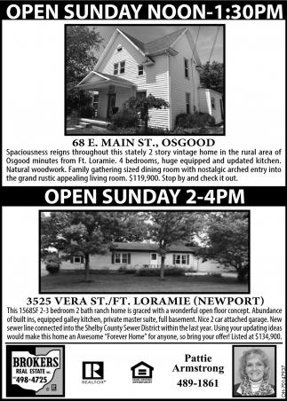 Open House - 68 E. Main St., Osgood | 3525 Vera St./Ft., Loramie