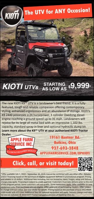 Kioti - The UTV for Any Ocassion!
