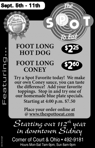 Foot Long Hot Dog $2.25 | Foot Long Coney $2.60