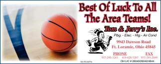 Best Of Luck To All The Area Teams!
