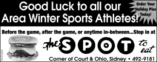 Good Luck to all our Area Winter Sports Athletes!