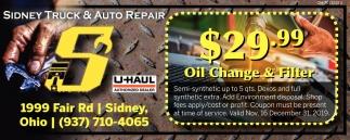$29.99 Oil Change & Filter