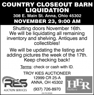 Country Closeout Barn Liquidation - November 23