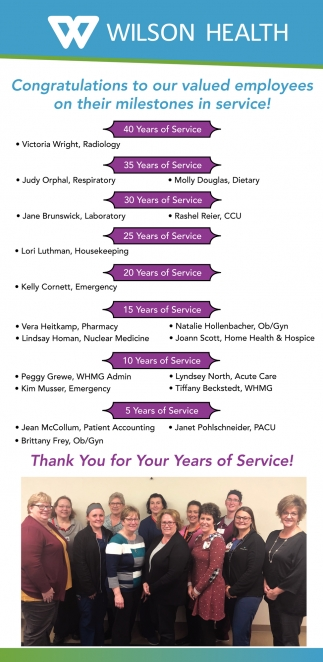 Congratulations to our valued employees on their milestone in service!