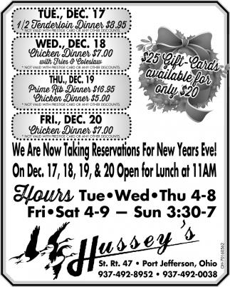 1/2 Tenderloin Dinner $8.95 - Chicken Dinner $7.00