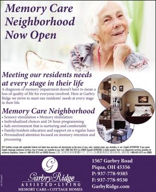 Memory Care Neighborhood Now Open