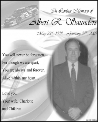 In Loving Memory of Albert R. Saunders
