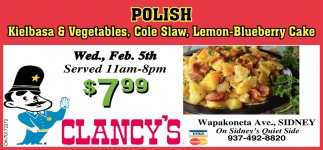 Polish - Kielbasa & Vegetables, Cole Slaw, Lemon-Blueberry Cake