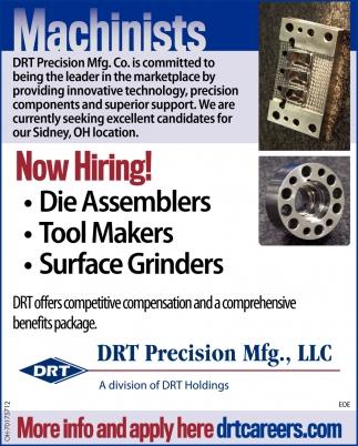 Die Assemblers   Tool Makers   Surface Grinders