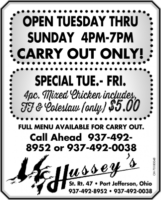 Carry Out Only!