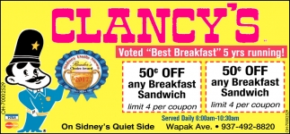 Voted Best Breakfast 5 yr running!