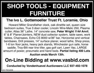 Shop Tools, Equipment, Furniture