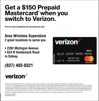Get a $150 Prepaid Mastercard when you switch to Verizon