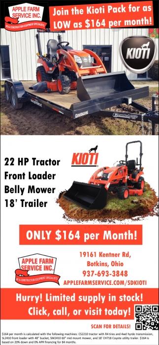 Kioti Pack $164 per month