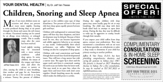 Children, Snoring and Sleep Apnea