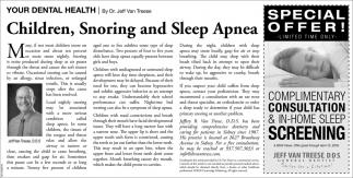 Children, Snoring and Sleep Apnea