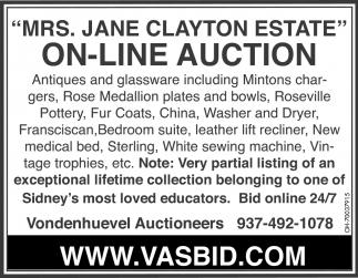 Mrs. Jane Clayton Estate
