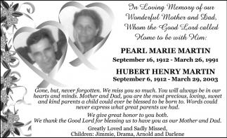Pearl Marie Martin - Hubert Henry Martin