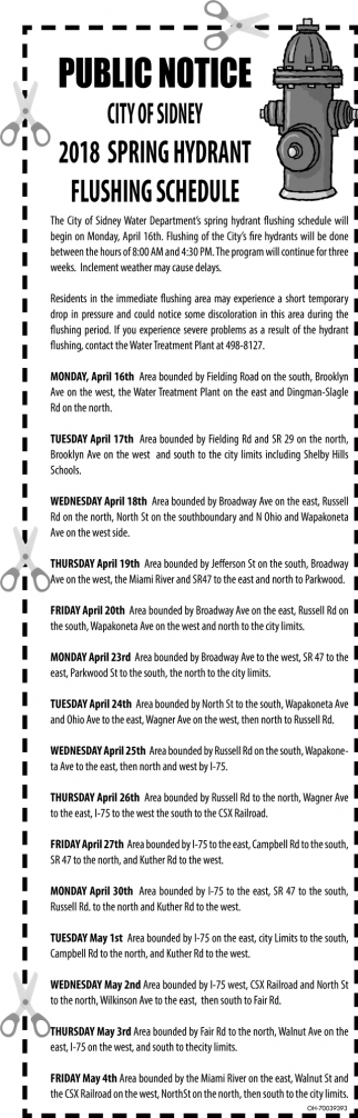 2018 Spring Hydrant Flushing Schedule