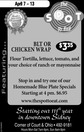 BLT or Chicken Wrap