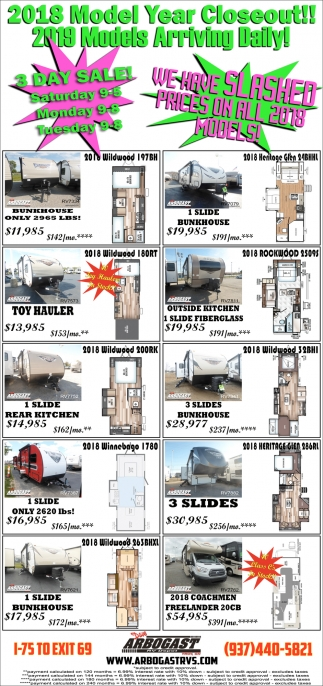 2018 Model Year Closeout! 2019 Models Arriving Daily!
