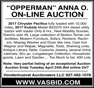 Opperman Anna O. On-Line Auction