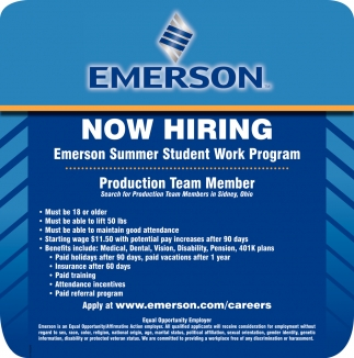 Production Team Member, Emerson Electric