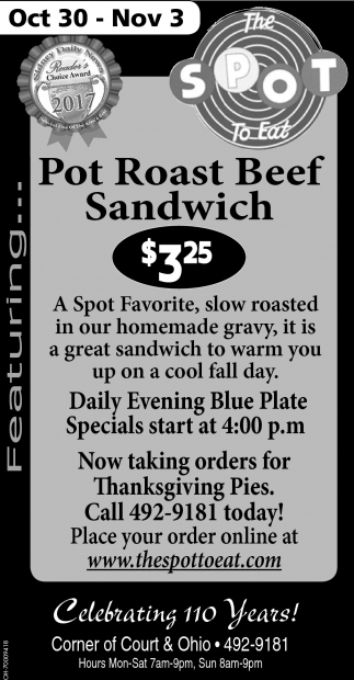 Pot Roast Beef Sandwich $3.25