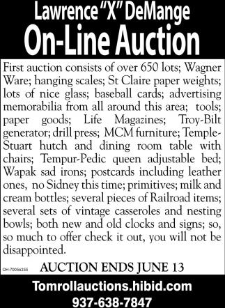 Lawrence X DeMange On-Line Auction