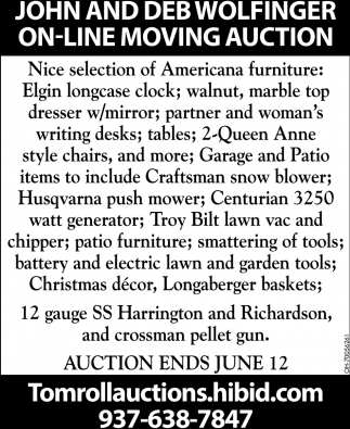 John and Deb Wolfinger on-line moving auction